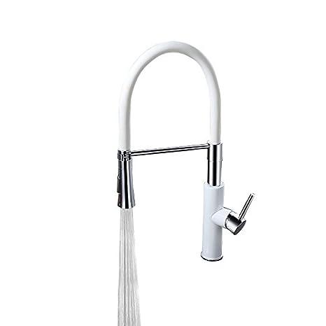 Lovedima Modern Sleek Blackwhite Pull Down Spray Kitchen Faucet
