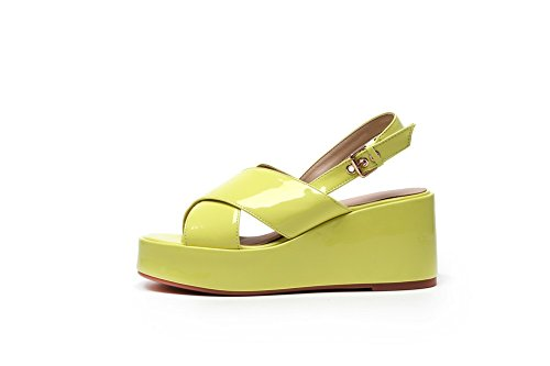 Open Heels High VogueZone009 PU Women's Sandals Toe Yellow Buckle Solid ttcawFqU