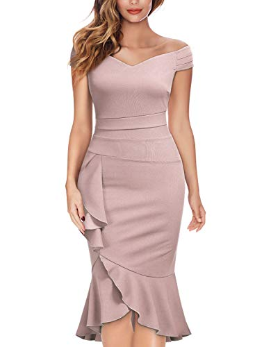 (Knitee Off Shoulder V-Neck Ruffle Pleat Waist Bodycon Evening Cocktail Slit Dress,XX-Large,Pink)