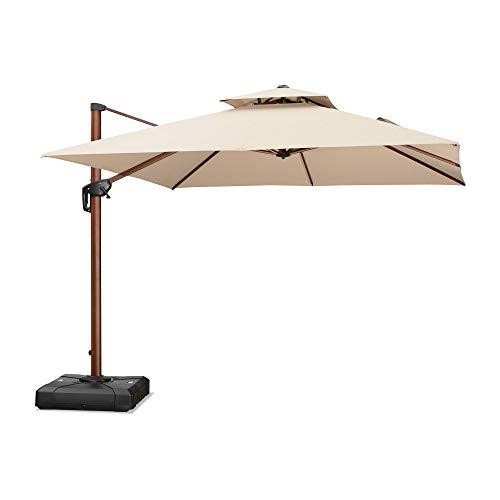 PURPLE LEAF 10 Feet Double Top Deluxe Wood Pattern Square Patio Umbrella Offset Hanging Umbrella Outdoor Market Umbrella Garden Umbrella, Beige