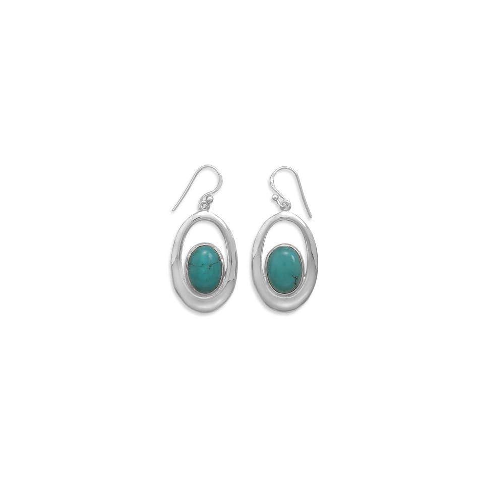 64553 Cut Out French Wire Earrings with Turquoise Earrings Earings Ear Silver 0.925 Metal Girl Lady Woman Stone Rhinestone Face Head Lock Pin
