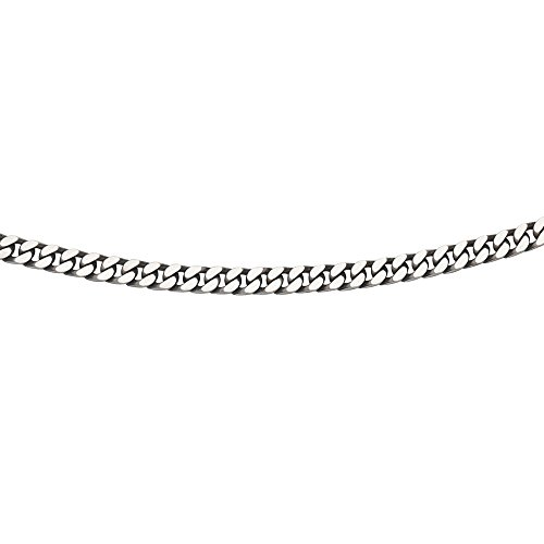 925 Sterling Silver Oxidized Plated Oxidized Miami Curb Chain Necklace - 22 Inch (Oxidized Silver Curb Chain)