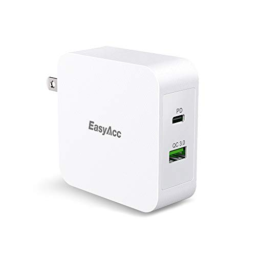 EasyAcc 48W USB C Fast Wall Charger, Power Delivery and QC 3.0 USB Dual Ports Output for iPhone X/XR/XS/MAX/8/8Plus/7/7 Plus/MacBook and iPad Pro, Samsung S10/S9/9+/S8/8+, Nintendo Switch and ()