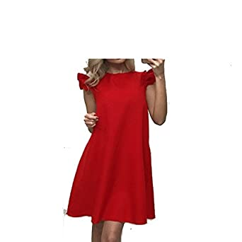Stevenurr Fashion Women Summer Dress Spring Lotus Leaf Sleeve Loose Dress Fashion Casual O Neck Red