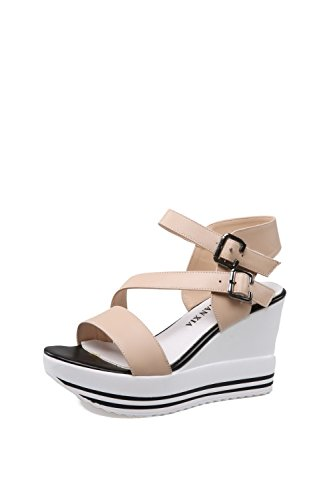 Sandals Cow Leather Solid High Womens Toe Open AmoonyFashion Apricot Buckle Heels 1YRqzW4w