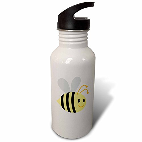 3dRose BrooklynMeme Animals - Cute cartoon bumble bee - Flip Straw 21oz Water Bottle - Water Bee