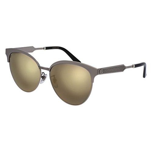 Gucci Mirrored GG0074SK-005-5 Silver Butterfly Sunglasses