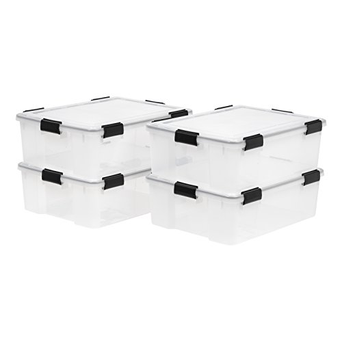 IRIS 41 Quart WEATHERTIGHT Storage Box, 4 Pack, Clear