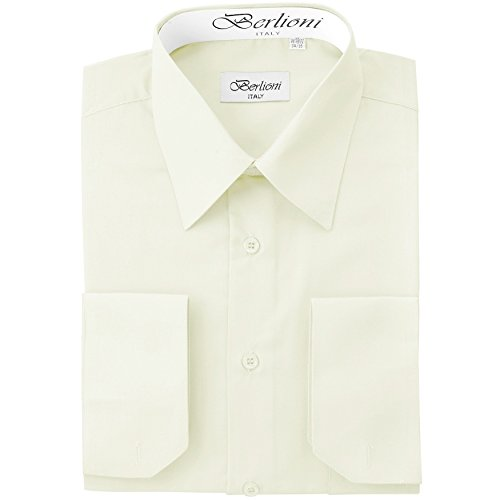 Men's Dress Shirt - Convertible French Cuffs ,Off White,2X-Large (18-18.5