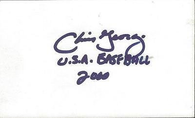 Chris George Signed 3x5 Index Card 2000 USA Baseball Inscription
