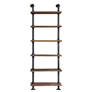 Diwhy Industrial Pipe Shelves Rustic Modern Wood Ladder Bookcase with Metal Frame,Pipe Wall Shelf,Wood Storage,Home…