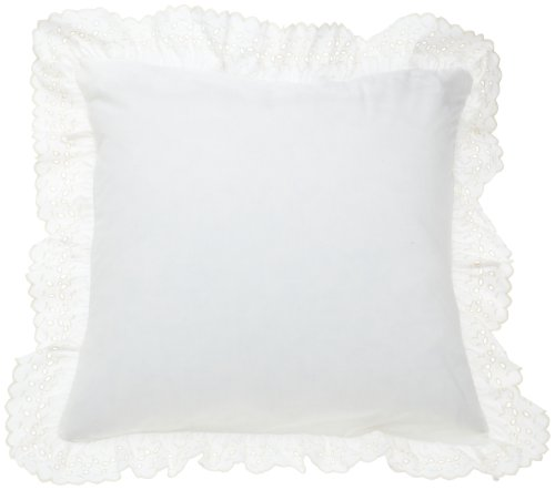 Fresh Ideas Bedding Eyelet Ruffled Pillow Sham Euro, Ivory