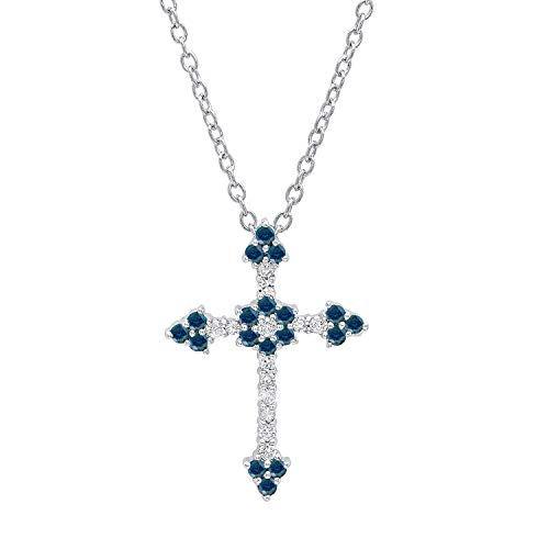Dazzlingrock Collection 0.40 Carat (ctw) 14K Round Blue & White Diamond Ladies Floral Cross Pendant, White ()