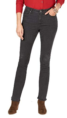 Style & Co. Petite Frayed Corduroy Ultra-Skinny Pants (Carbon Grey, 12P)