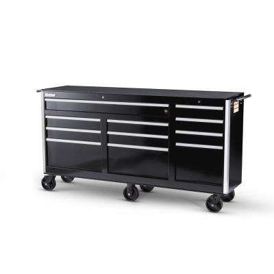 International Tech Series 73 in. 11-Drawer Roller Cabinet Tool Chest BLACK (Series 6 Side Cabinet Drawer)