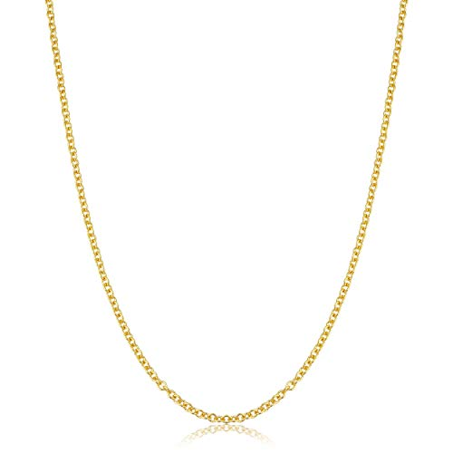 KoolJewelry 14k Yellow Gold Filled 1mm 1.3mm 1.5mm 2.1mm Cable Chain Necklace