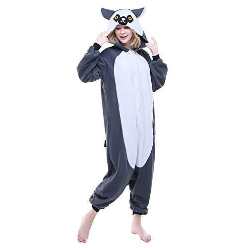Unisex Pig Pyjamas Onesie Christmas Halloween Costume (Gray Lemur -