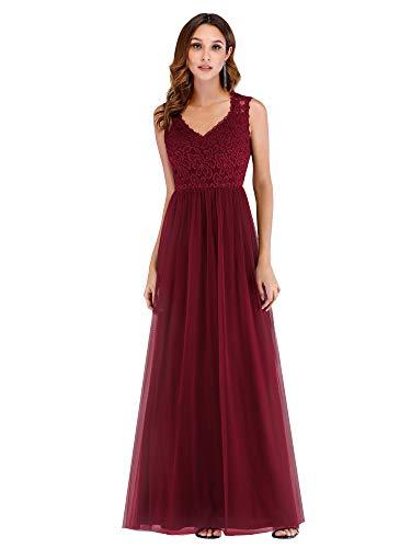 Women's Retro Floral Lace Vintage Bridesmaid Wedding Long Dress Burgundy US8