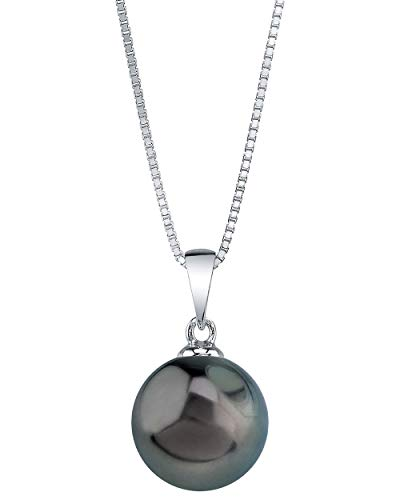 THE PEARL SOURCE 10-11mm Genuine Tahitian South Sea Cultured Pearl Sydney Pendant Necklace for Women (Pearl Tahitian Genuine Black)