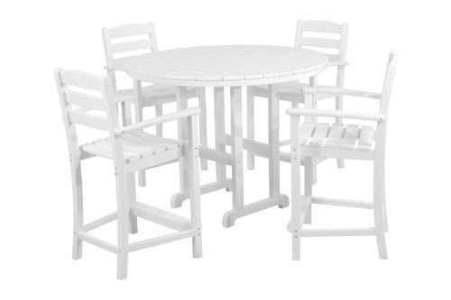 Polywood La Casa Cafe 4-Seat Round Counter Dining Set - WHITE (4 Polywood Seat)