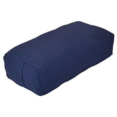 YogaDirect Rectangular Cotton Yoga Bolster, Blue