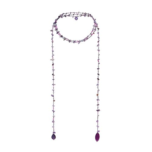 Sparkling Aura Simulated Amethyst & Reconstructed Agate Lariat Necklace