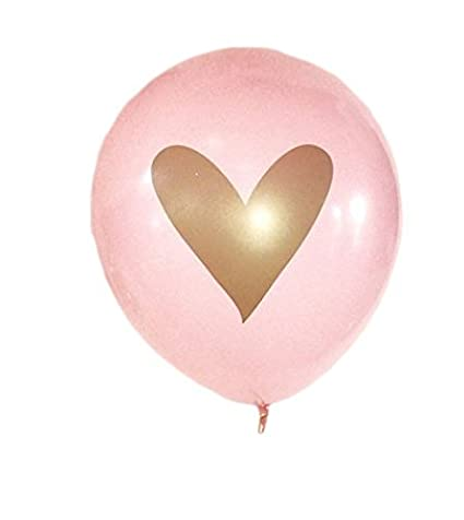 Pink Gold Heart Balloons Love 12 Latex Wedding Decoration Kit Proposal Vow Renewal Valentines Bridal Shower Party Bachelorette Celebration Anniversary Concepts BlankIt Ribbon Included