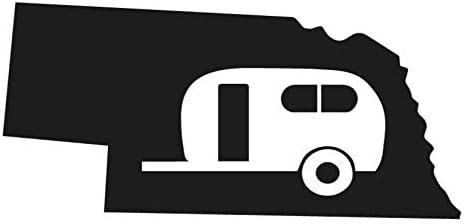 "SixtyTwo24 Nebraska State Camper Sticker - {Black} 5"" Decal - NE Home RV Camping Camper Funny RV Camper Travel Trailer Sticker, Camping Sticker RV Decal, Funny Camping Sticker"