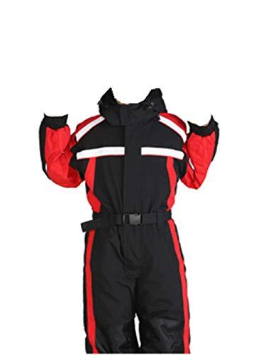 (Genm0 One-Piece Snowsuit Ski Suit for Kids Waterproof Windproof Taslon Reflective Boys/Girls Winter Clothing Snow Ski Suit (Black-RED, 7) )