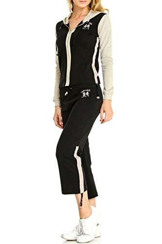 (Vertigo Paris Women's Vintage Logo Lounge Capri Tracksuit Jog Set - Black/Almond - Medium)