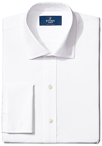 (BUTTONED DOWN Men's Slim Fit French Cuff Spread-Collar Non-Iron Dress Shirt, white, 16.5 34)