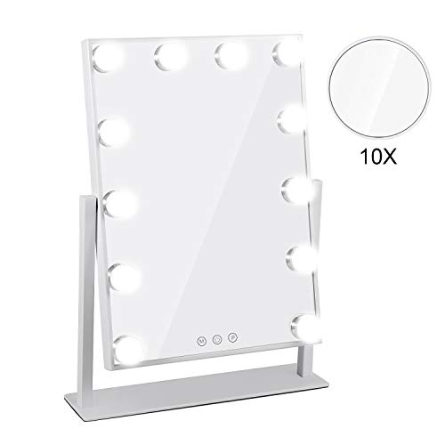 Hollywood Vanity Mirror with Lights LED Tabletop Makeup Mirror with 10x Magnifying Mirror, 3 Color Lighting Modes and 12 LED Dimmable Bulbs Touch Control Cosmetic Mirror - White (Sale Lights Mirror With For Vanity)