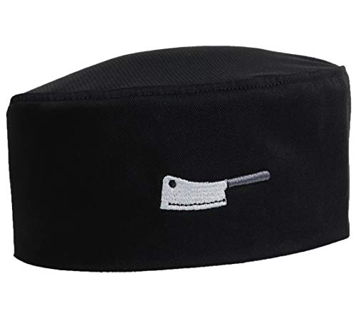 Skull With Top Hat - 10oz apparel Mesh Top Chef Skull Hat with Piping (Black Chef Cleaver)