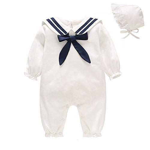 JooNeng Baby Girl Boy Romper Long Sleeve Newborn Cotton Jumpsuit Navy Bowknot with Lace Hat,White6-9M