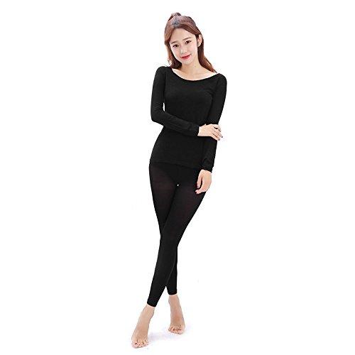 QIN&X La mujer Slim Fit fina ropa interior térmica establecida,negro,un tamaño