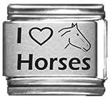 I Heart Horses Laser Italian Charm