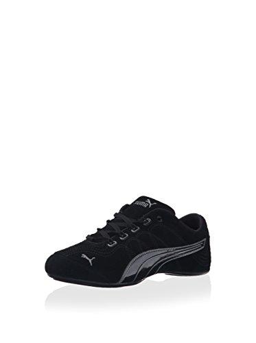 PUMA Women's Soleil V2 Suede Patent Sneaker - Black/Steel Gray (Large Image)