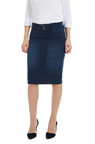 - Esteez Jean Skirt for Women Below Knee Skirt Beverly Hills Blue 16
