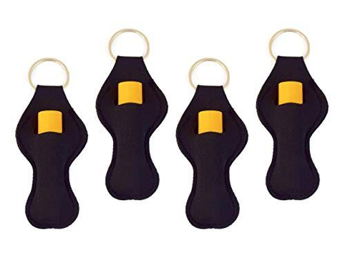 Zario Keychain Holder Lanyard, Neutral Color Design Chapstick Holder Keychain (4 Pack)