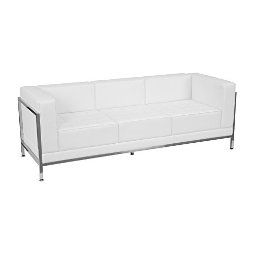 Offex OF-ZB-IMAG-SOFA-WH-GG Hercules Imagination Series Contemporary White Leather Sofa with Encasing Frame