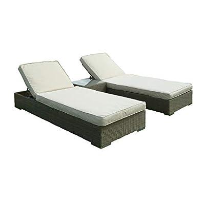 GGL Marbella Sun Bed Lounger Set Wood Effect Adjustable