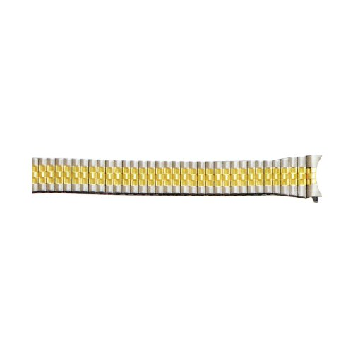 20mm Two-Tone White/Yellow Expansion Metal Watch Band With Curved End (Expandable Watch Band)