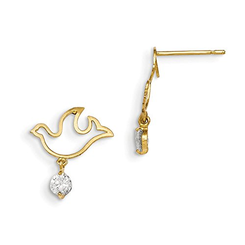 14K Madi K CZ Childrens Dove Dangle Post Earrings