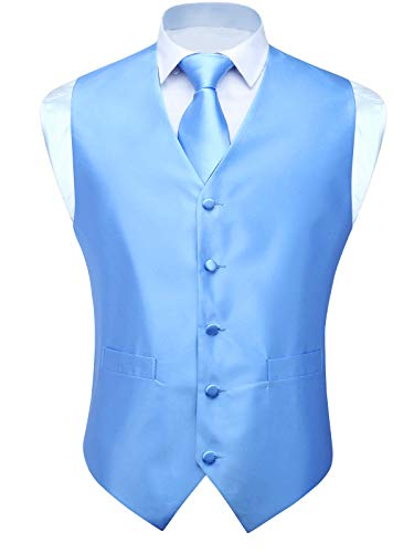 HISDERN Men's Solid Check Jacquard Waistcoat & Necktie and Pocket Square Vest Suit Set Baby Blue