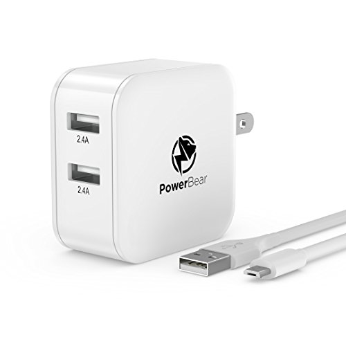 (PowerBear USB Charger Dual USB Wall Charger [4.8A 24W] Foldable Plug, Travel Ready SmartID Technology Compatible for iPhone, Samsung Galaxy S9 / S8 / S7 / S6 & More - White)