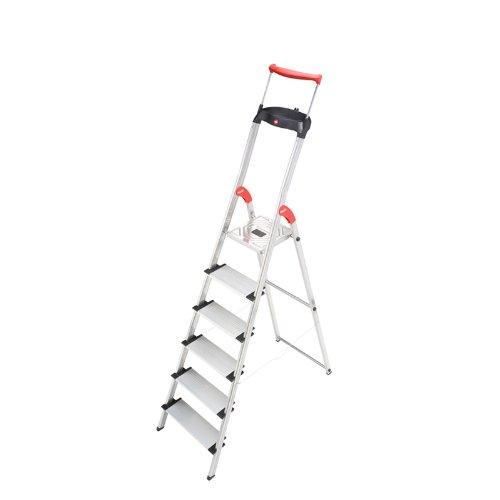 omfortline 6Step Folding Lightweight Aluminum Step Ladder 6, Alu/BLK/RED ()
