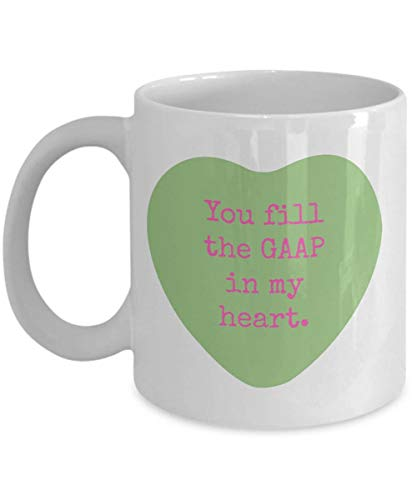 YellowStar.CN52 - Accountant Mug, Valentine's Day Coffee Mug, Funny Accounting Mug - Candy Conversation Hearts -You Fill the GAAP in My Heart