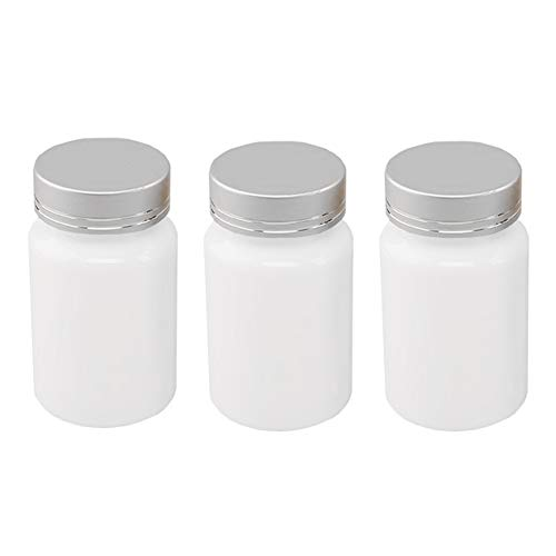 3Pcs 80ml/2.8oz White PET Empty Portable Refillable Bottles with Silver Screw Lid Vitamine Tablets Capsules Containers Dispense Sample Vials Cases Boxes Tins for Pills Storage ()