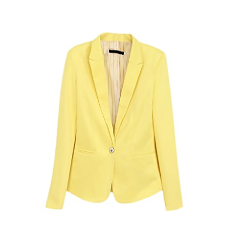 Blazer Donna Elegante Chic Cerimonia Primaverili Ufficio Business Tailleur Manica Lunga Bavero con Bottoni Giacca Cappotto Colore Solido Slim Fit
