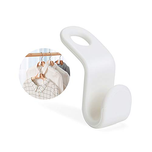 Kyue 60 Pcs Hanger Connector Hooks,for Stack Clothes and Make Your Closet Space-Saving, Creamy White